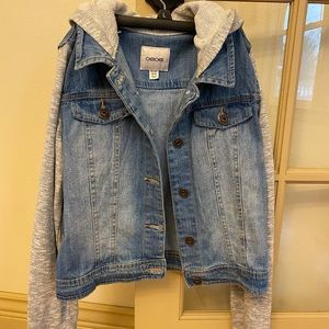 Denim jacket with gray sleeves